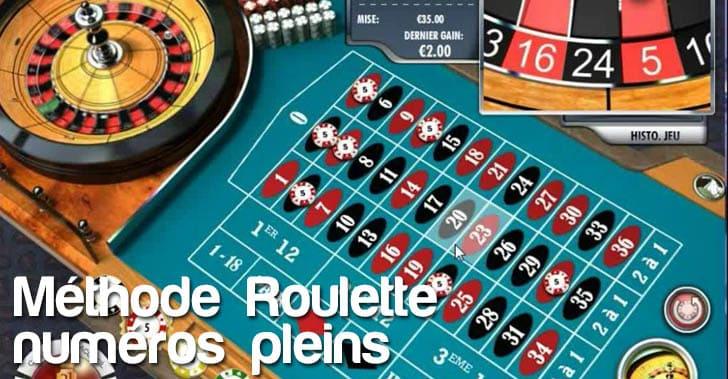 Méthode des numéros pleins à la roulette en ligne des casinos